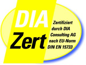 Logo DIAZert Makler Zertifiziert Durch DIA Consulting AG Nach EU Norm DIN EN 15733