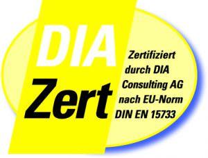 Logo DIAZert Makler Zertifiziert Durch DIA Consulting AG Nach EU Norm DIN EN 15733